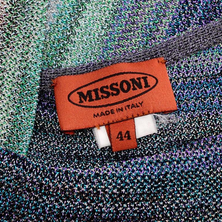 Missoni Purple Blue & Green Metallic Stretch Knit Dress W Asymmetrical Design  For Sale 5