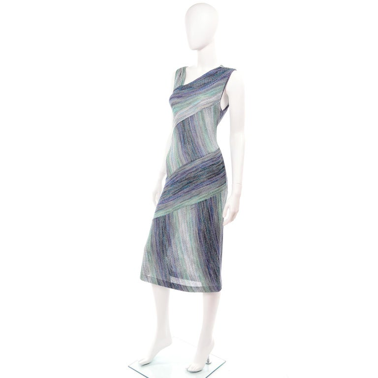Gray Missoni Purple Blue & Green Metallic Stretch Knit Dress W Asymmetrical Design  For Sale