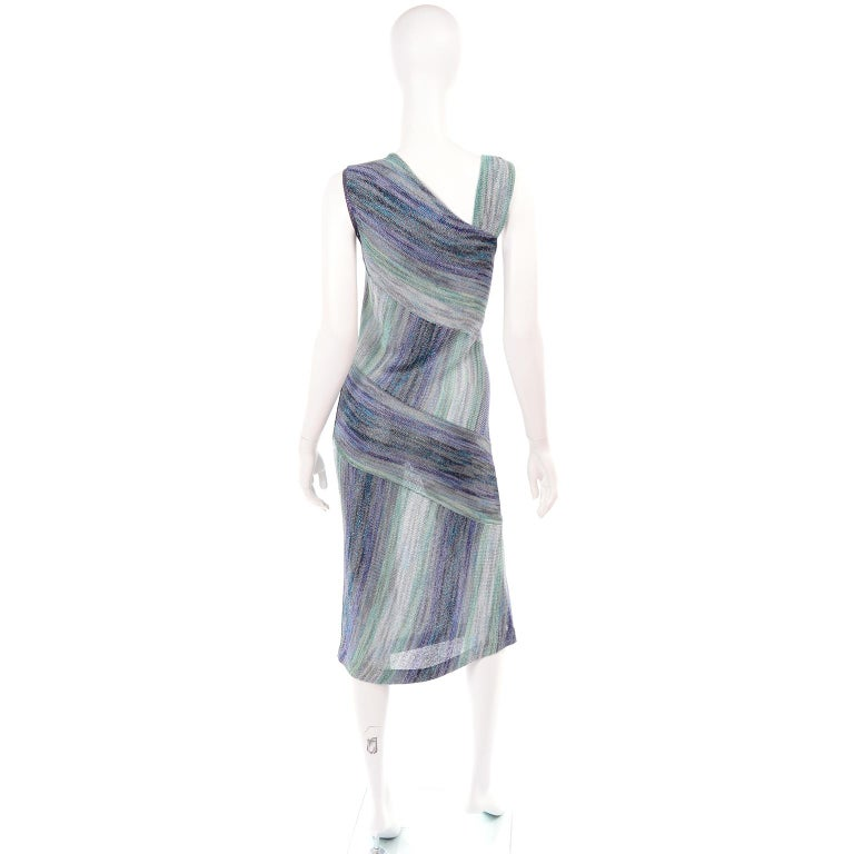 Missoni Purple Blue & Green Metallic Stretch Knit Dress W Asymmetrical Design  In Excellent Condition For Sale In Portland, OR