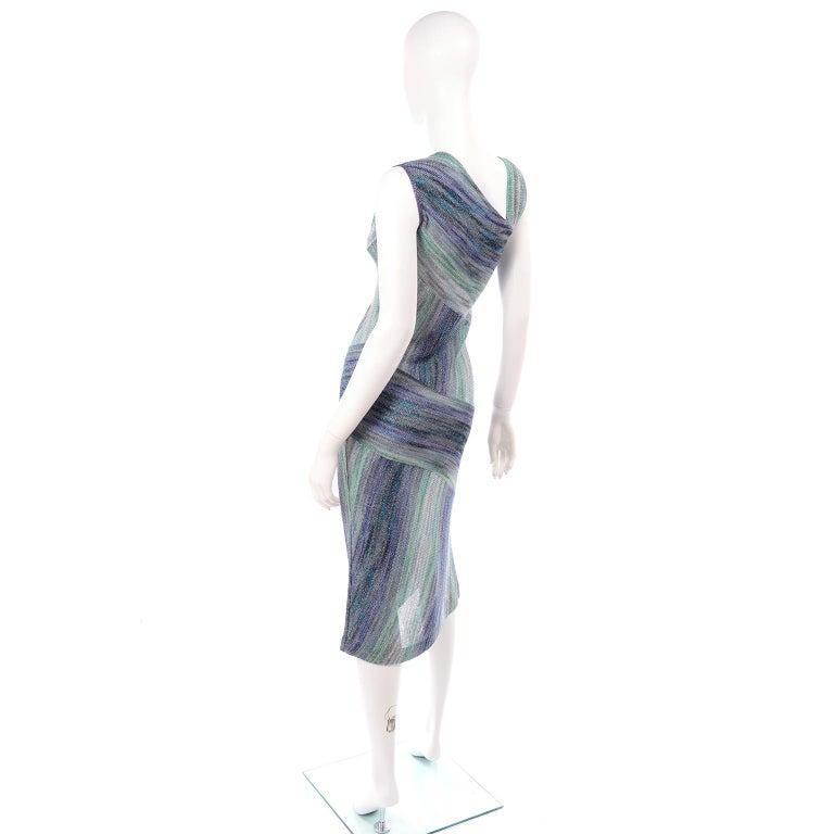 Women's Missoni Purple Blue & Green Metallic Stretch Knit Dress W Asymmetrical Design  For Sale