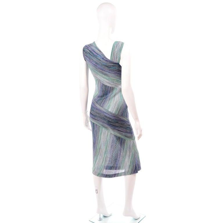 Missoni Purple Blue & Green Metallic Stretch Knit Dress W Asymmetrical Design  For Sale 1