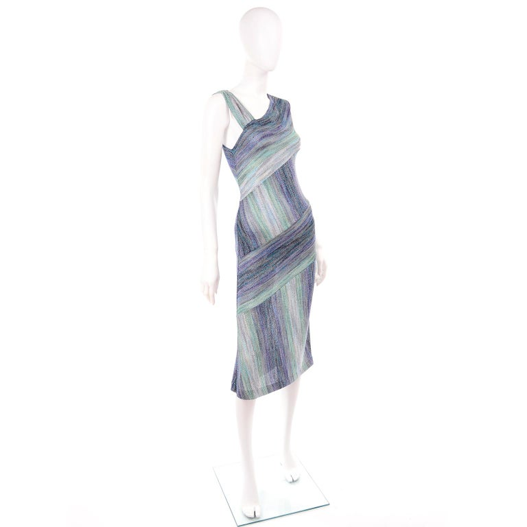 Missoni Purple Blue & Green Metallic Stretch Knit Dress W Asymmetrical Design  For Sale 2