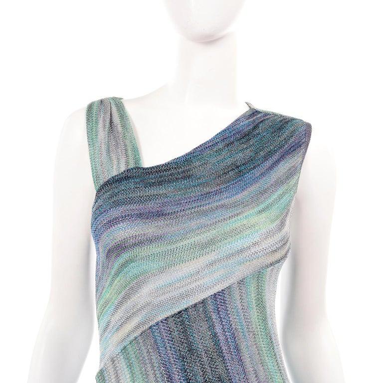 Missoni Purple Blue & Green Metallic Stretch Knit Dress W Asymmetrical Design  For Sale 4