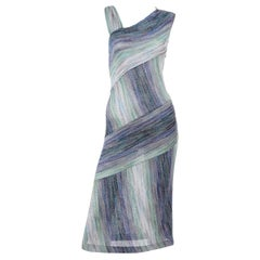 Missoni Purple Blue & Green Metallic Stretch Knit Dress W Asymmetrical Design
