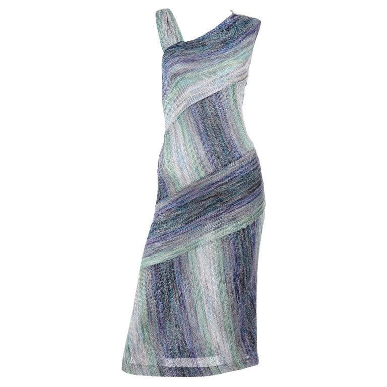 Missoni Purple Blue & Green Metallic Stretch Knit Dress W Asymmetrical Design  For Sale
