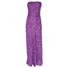 Missoni Purple Embroidered Crochet Knit Evening Gown Dress