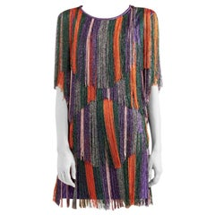 Missoni Purple & Orange Fringed Mini Dress - Size US 2