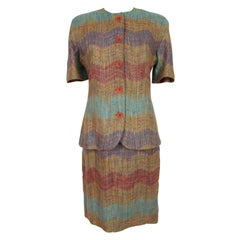 Missoni Red Blue and Yellow Linen Striped Skirt Suit Dress 1980s Short Sleeves