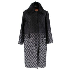 Missoni Reversible Black & Silver Knit Padded Coat 46 IT