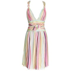 Missoni Runway Plunging V Pastel Faux Wrap Dress 40