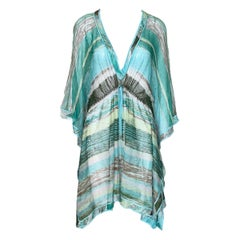 Missoni Seafoam Colors Striped Mesh Crochet Knit Mini Dress Tunic Kaftan
