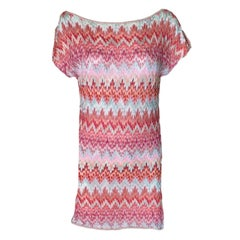 Missoni Signature Chevron Crochet Knit Tunic Mini Dress