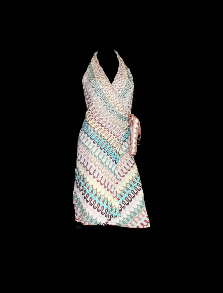 Gray NEW Missoni Signature Chevron Zigzag Knit Wrap Dress For Sale
