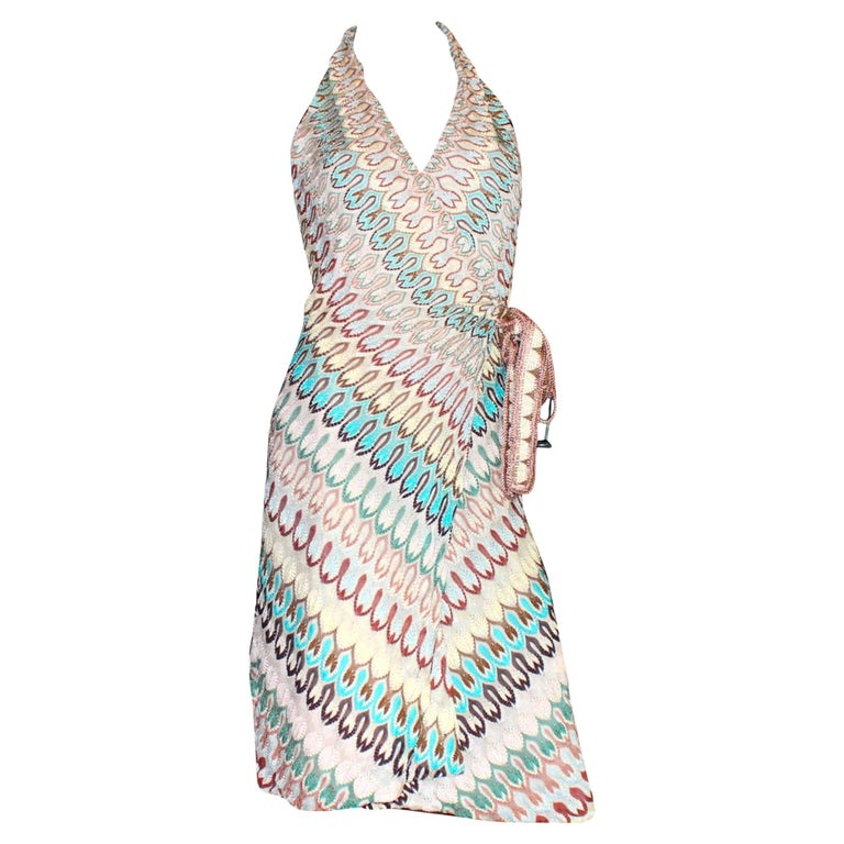 NEW Missoni Signature Chevron Zigzag Knit Wrap Dress For Sale