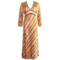 Missoni Signature Chevron Zigzag Metallic Gold Kaftan Maxi Dress Gown