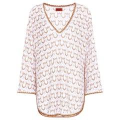 Missoni Signature White & Gold Metallic Knit Dress Kaftan Cover Up