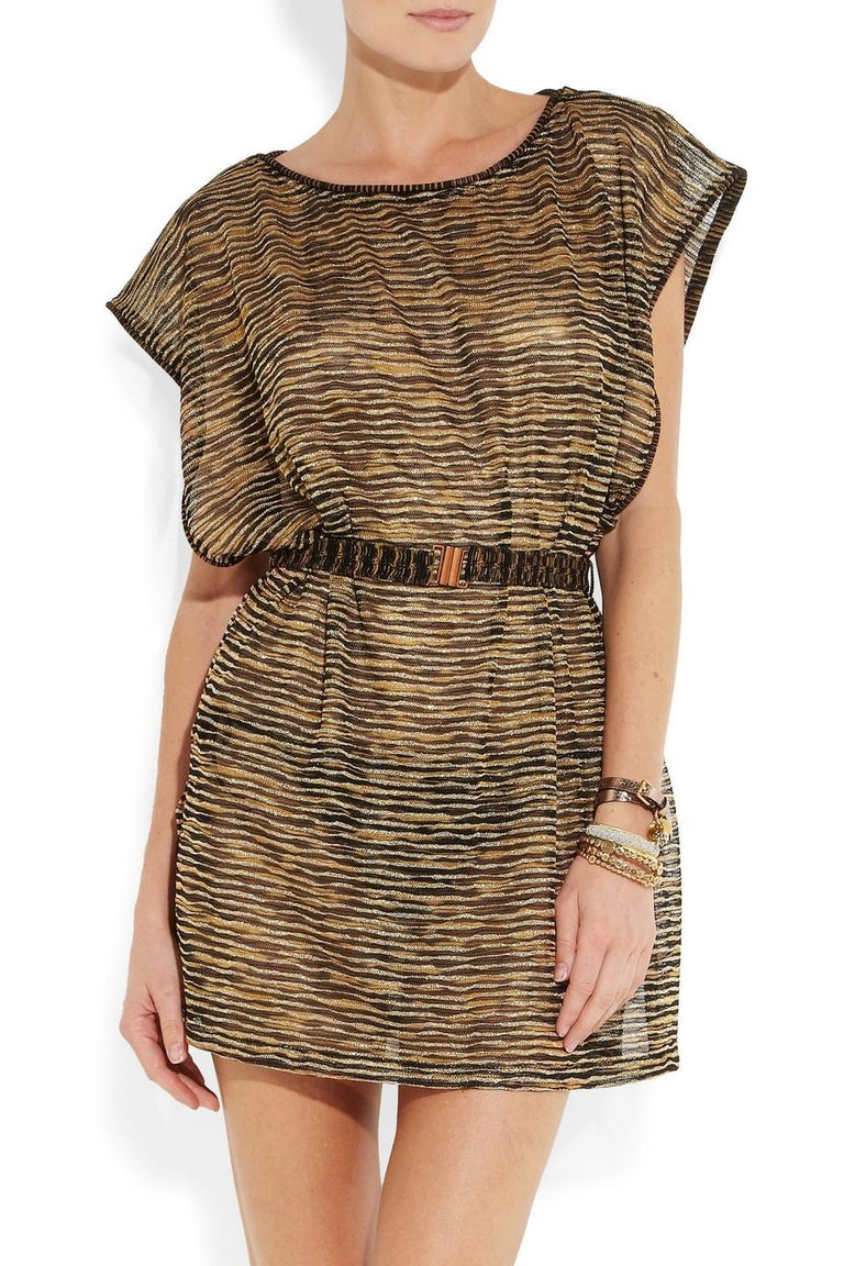 Missoni Signature Zigzag Crochet Knit Mini Dress with Belt In Excellent Condition For Sale In Switzerland, CH