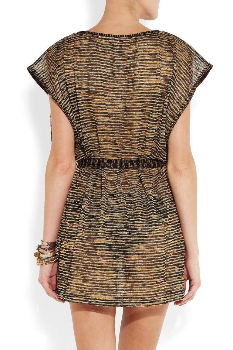 Women's Missoni Signature Zigzag Crochet Knit Mini Dress with Belt For Sale