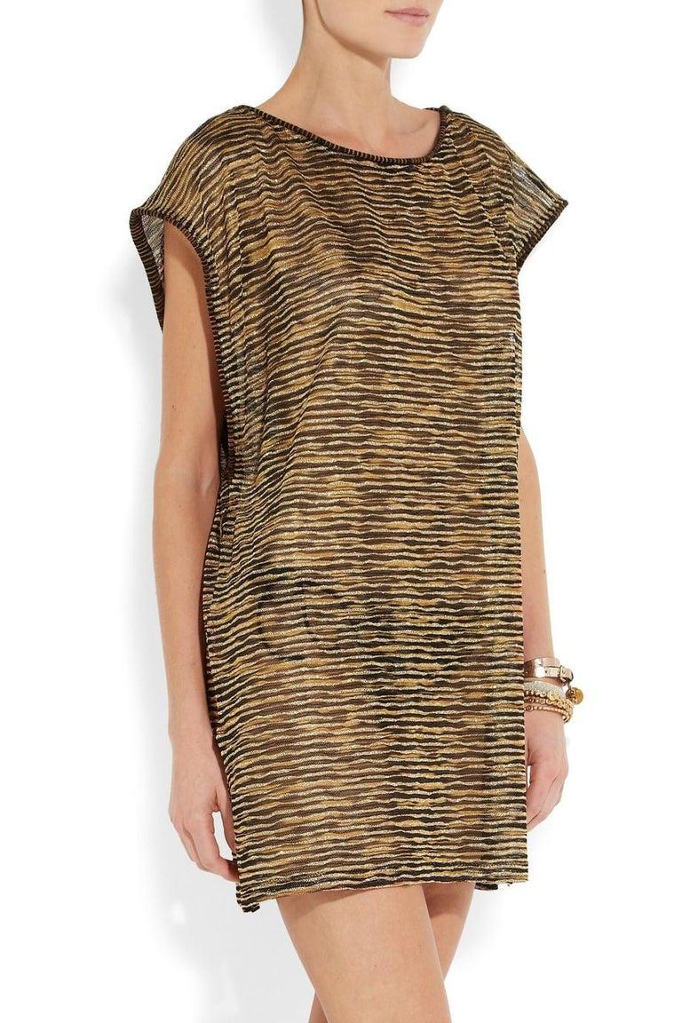 Missoni Signature Zigzag Crochet Knit Mini Dress with Belt For Sale 1