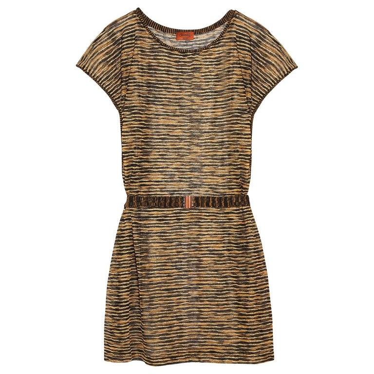 Missoni Signature Zigzag Crochet Knit Mini Dress with Belt For Sale