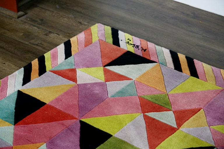 Missoni Signed Post-Modern Kaleidoscope Large Rug, circa 1980 For Sale 9