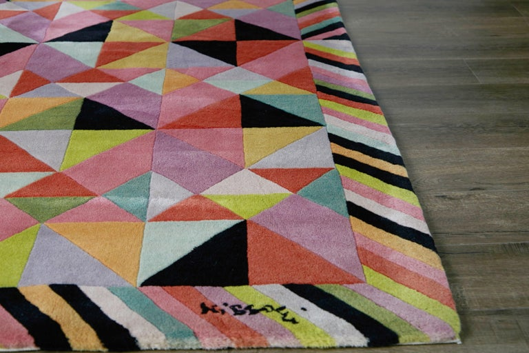 Missoni Signed Post-Modern Kaleidoscope Large Rug, circa 1980 In Good Condition For Sale In Los Angeles, CA