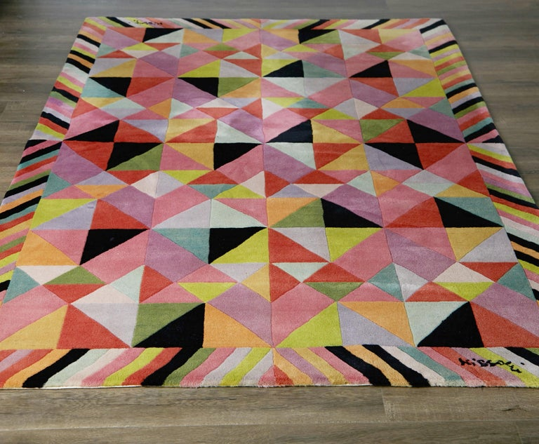 Late 20th Century Missoni Signed Post-Modern Kaleidoscope Large Rug, circa 1980 For Sale