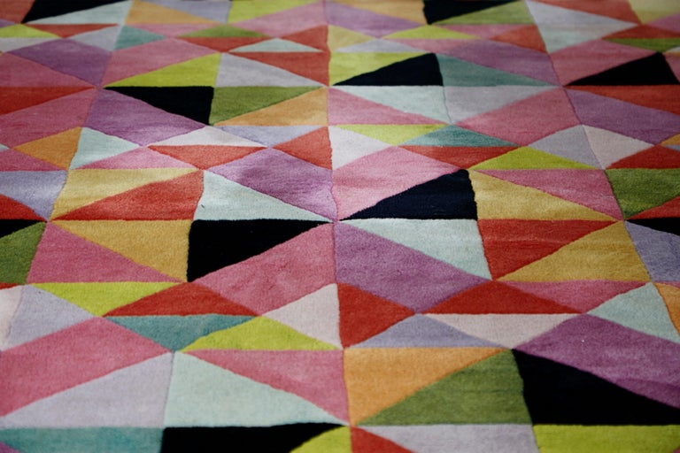 Wool Missoni Signed Post-Modern Kaleidoscope Large Rug, circa 1980 For Sale