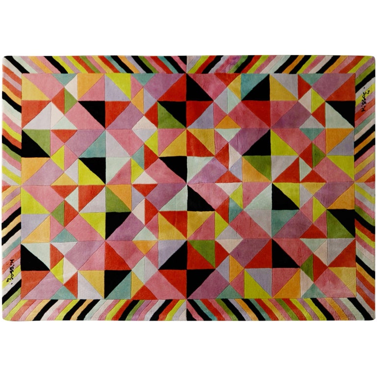 Missoni Signed Post-Modern Kaleidoscope Large Rug, circa 1980 For Sale