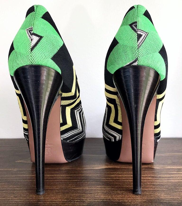 Black Missoni Size 36 / 6 Green + Yellow Zig Zag Platforms Peep Toe High Heels Shoes For Sale