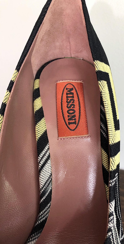 Women's Missoni Size 36 / 6 Green + Yellow Zig Zag Platforms Peep Toe High Heels Shoes For Sale