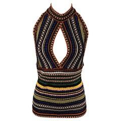 MISSONI Size 4 Multi-Color Stripe Lurex Halter Dress Top