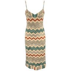 MISSONI Size 8 Multi-Color Knitted Zig Zag Cotton / Nylon Dress