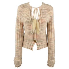 MISSONI Size 8 Pink Cashmere Fur Tie Cropped Cardigan