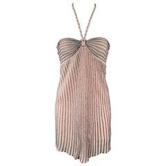 MISSONI Size S Pink Metallic Knit Halter Mini Dress