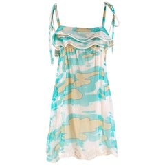 Missoni Turquoise Chiffon Printed Silk Tunic S 38