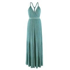 Missoni Turquoise Metallic Knit Sleeveless Maxi Dress - Size XS