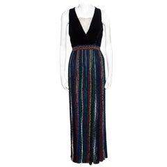 Missoni Velvet Bodice Detail Lurex Knit Sleeveless Maxi Dress S