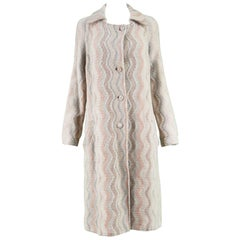Missoni Vintage Italian Wool Cream and Orange Knit Women's Wavy Patterned Coat