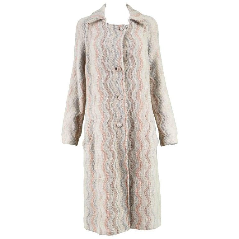 Missoni Vintage Italian Wool Cream and Orange Knit Women's Wavy Patterned Coat