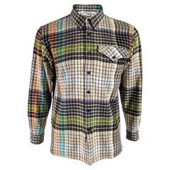 Missoni Vintage Mens Wool Flannel Check Shirt, 1980s