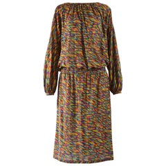 Missoni Vintage Rainbow Silk Knit Dress