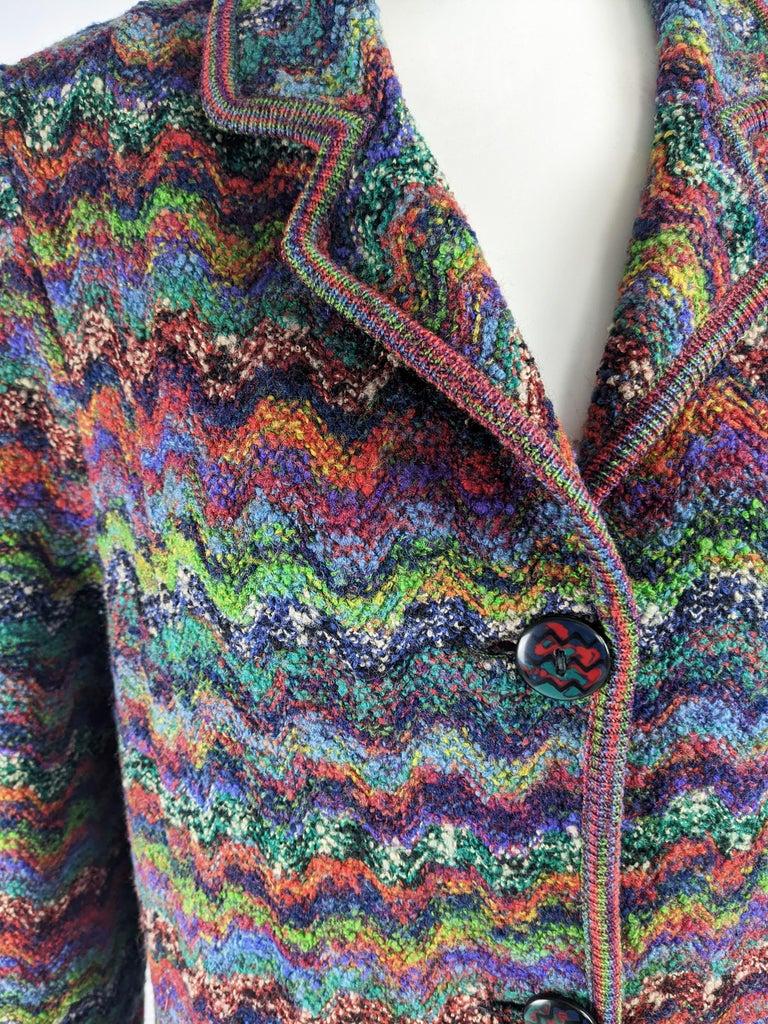 Black Missoni Vintage Zig Zag Wool Knit Coat, 1980s