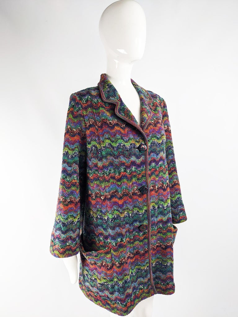 Missoni Vintage Zig Zag Wool Knit Coat, 1980s In Excellent Condition In Doncaster, South Yorkshire