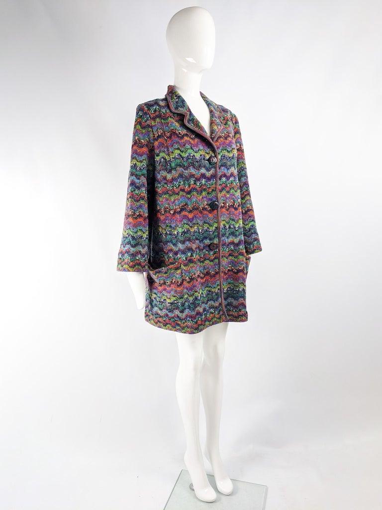 Women's Missoni Vintage Zig Zag Wool Knit Coat, 1980s