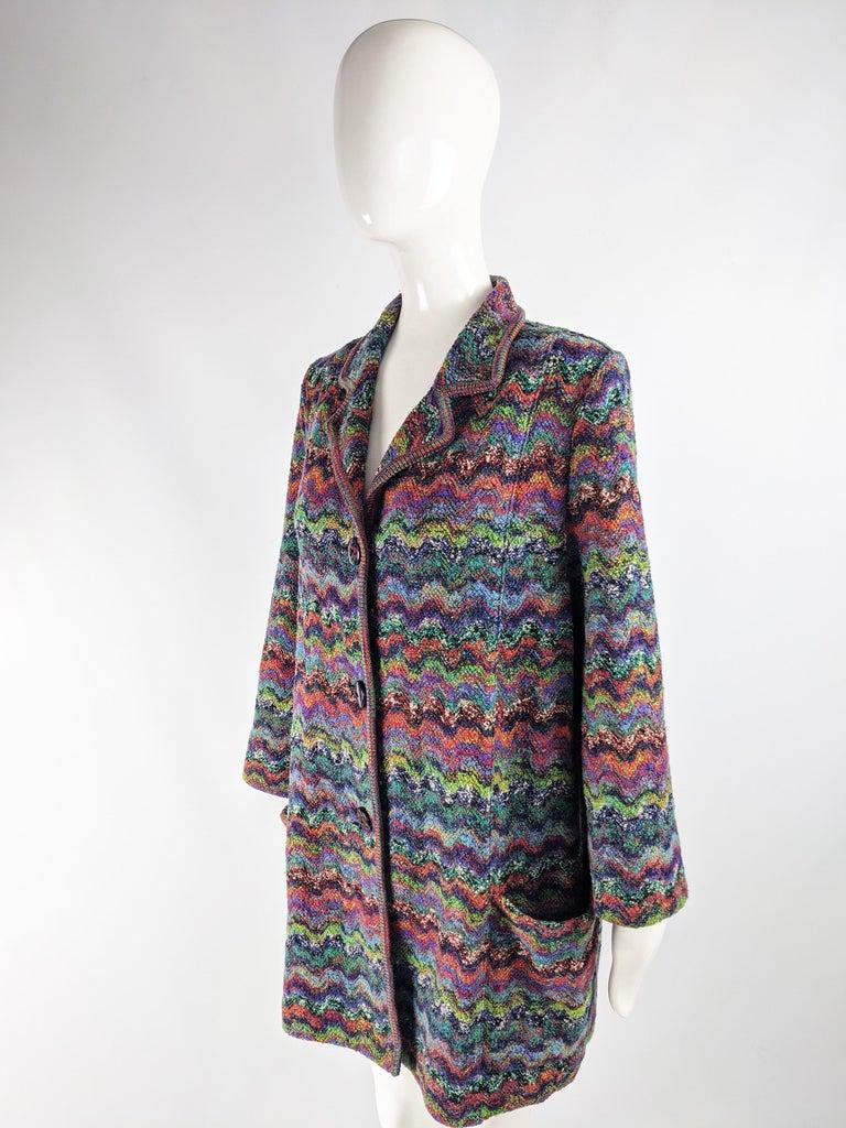 Missoni Vintage Zig Zag Wool Knit Coat, 1980s 1