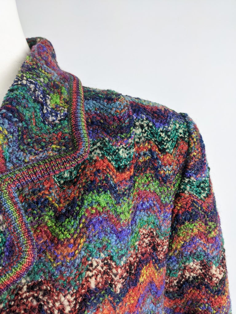 Missoni Vintage Zig Zag Wool Knit Coat, 1980s 2
