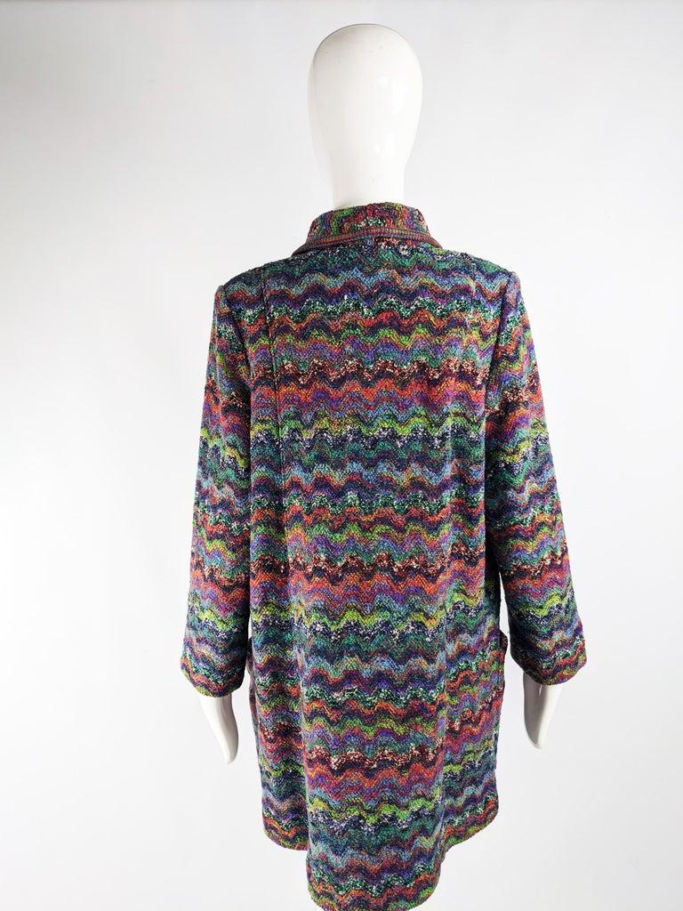 Missoni Vintage Zig Zag Wool Knit Coat, 1980s 3