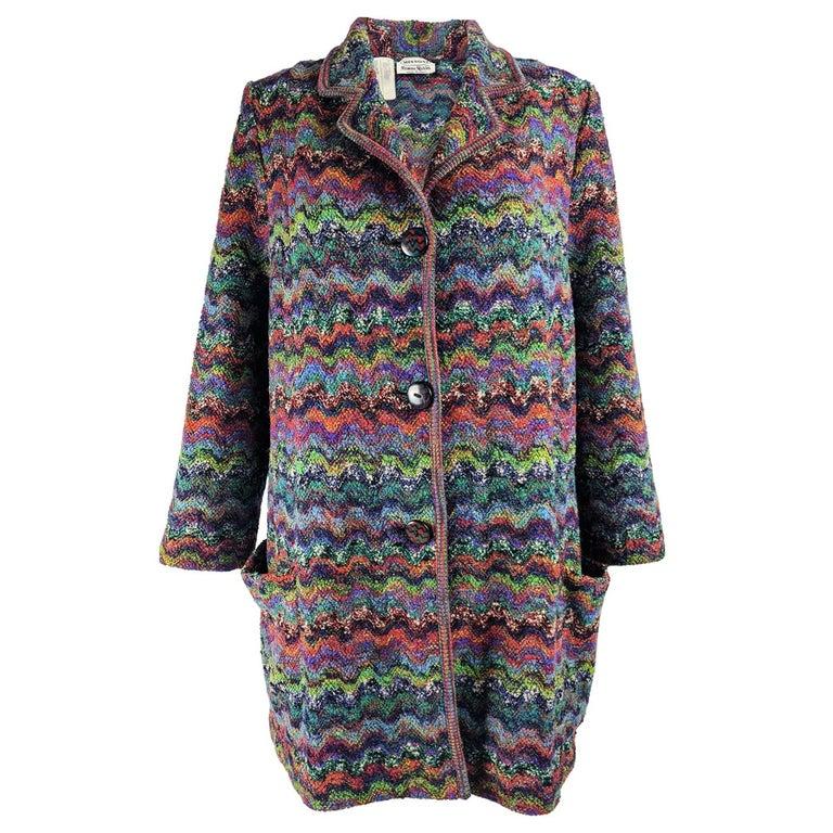 Missoni Vintage Zig Zag Wool Knit Coat, 1980s