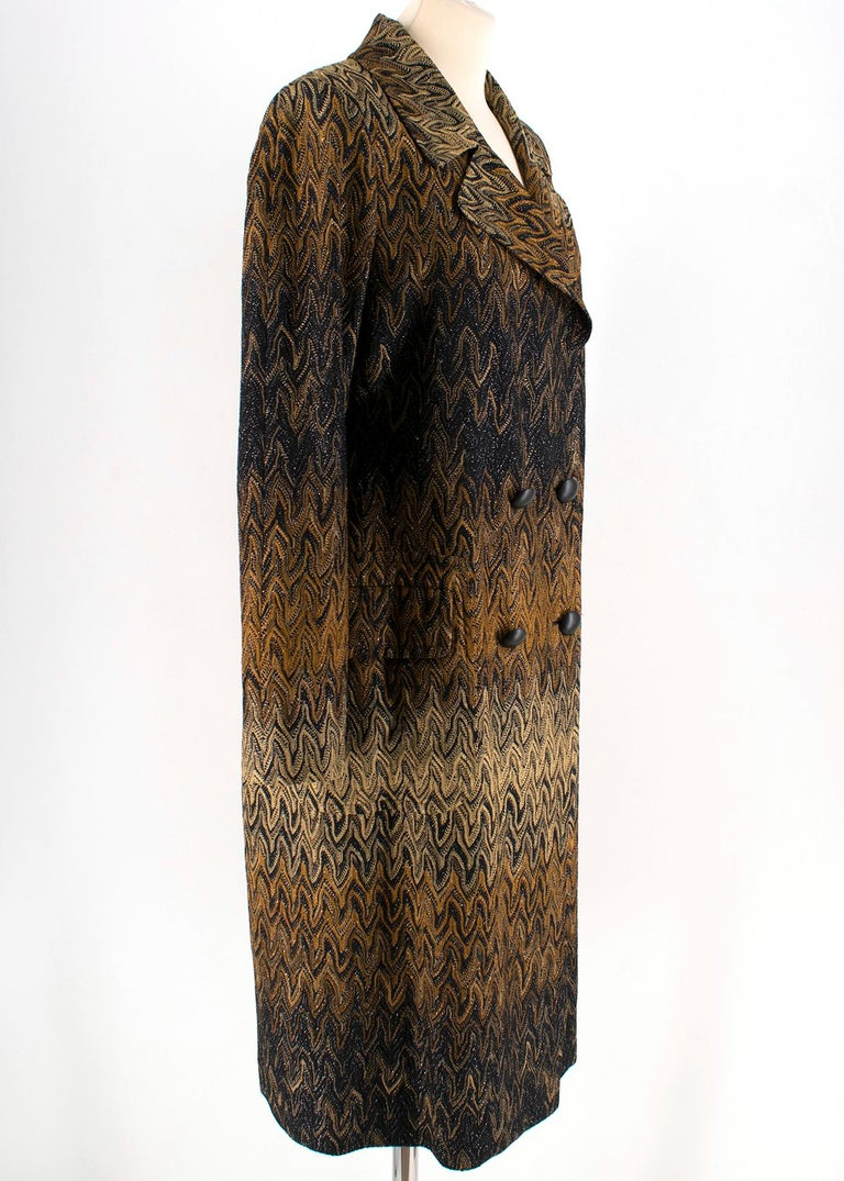 Missoni Wavy Knit Gold Long Coat  -Gold and black ombre pattern -Double breasted -Two functional front pockets -Notch lapel -100% silk lining  Please note, these items are pre-owned and may show some signs of storage, even when unworn and unused.